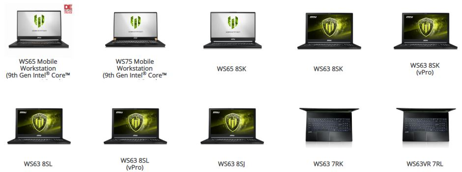 WS65 Mobile Workstation, WS75 Mobile Workstation, WS65 8SK, WS63 8SK, WS63 8SK, WS63 8SL, WS63 8SL, WS63 8SJ, WS63 7RK, WS63VR 7RL, WS60 7RJ servis